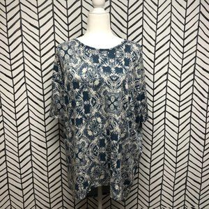Lularoe Blue and White Lace Irma Top
